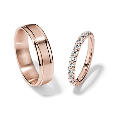 French Pavé Eternity and Brushed Inlay Set in 14k Rose Gold