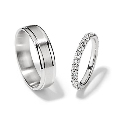 French Pavé Eternity and Brushed Inlay Set in 14k White Gold