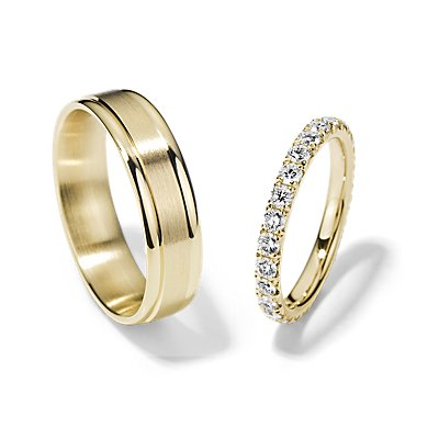 French Pavé Eternity and Brushed Inlay Set in 14k Yellow Gold