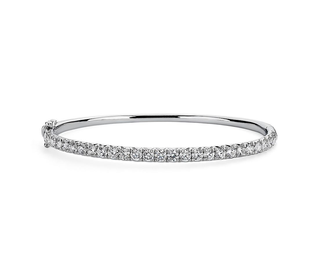French Pave Diamond Bangle in 14k White Gold (3 ct. tw.)
