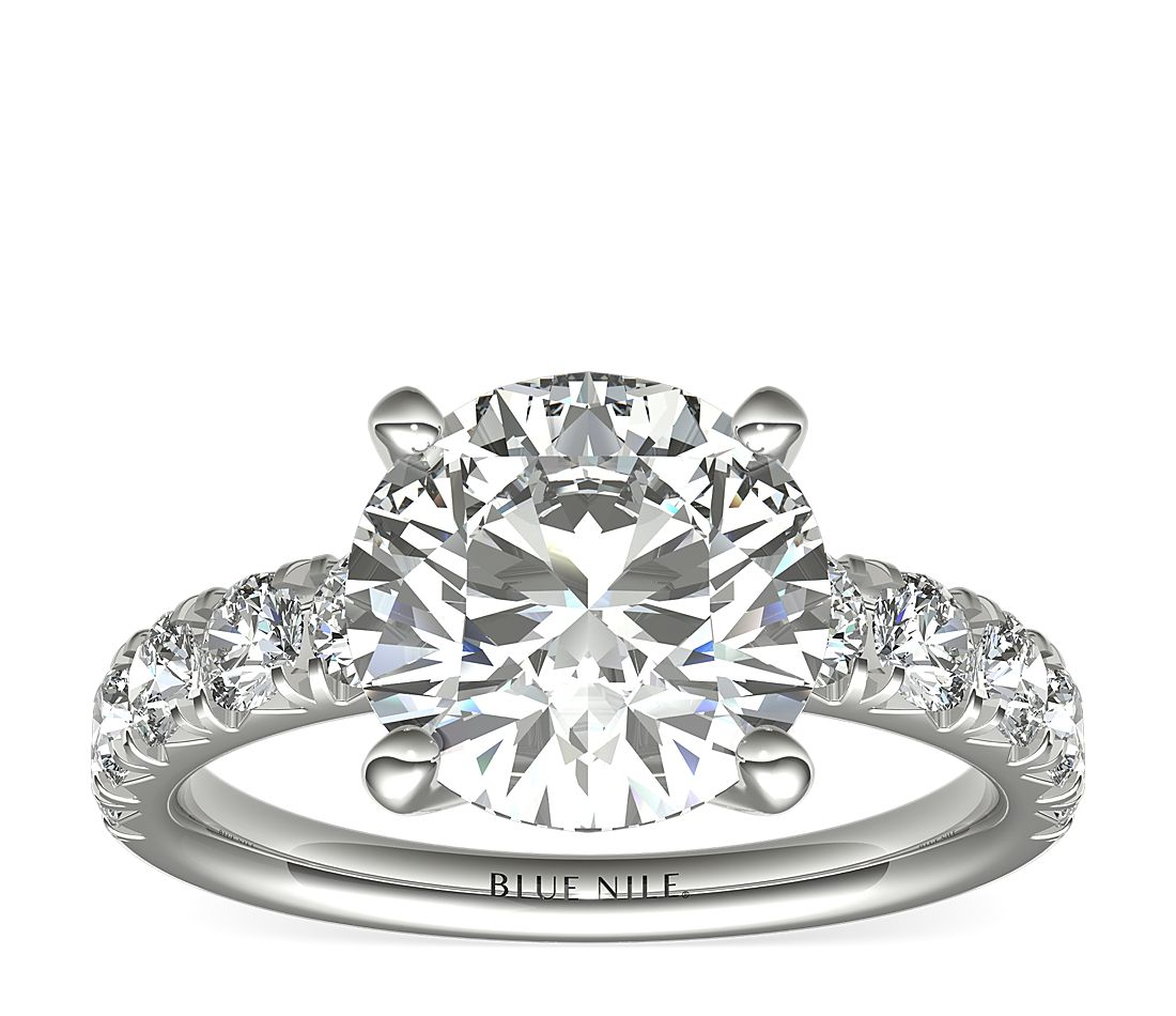 3.01ct.RD in French Pave Diamond Engagement Ring 1 cttw in Platinum