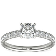 Scalloped Pavé Diamond Engagement Ring in Platinum (0.38 ct. tw.)