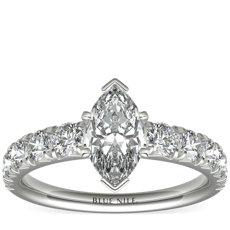 鉑金法式密釘鑽石訂婚戒指(1 克拉總重量)