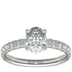 Bague de fiançailles festonnée en diamants sertis pavé en platine (0,38carat, poids total)
