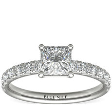 Scalloped Pavé Diamond Engagement Ring in Platinum (0.38 ct. tw.)