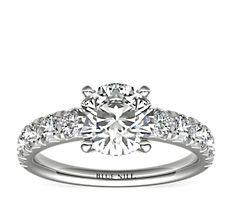 铂金密钉钻石订婚戒指(1 克拉总重量)