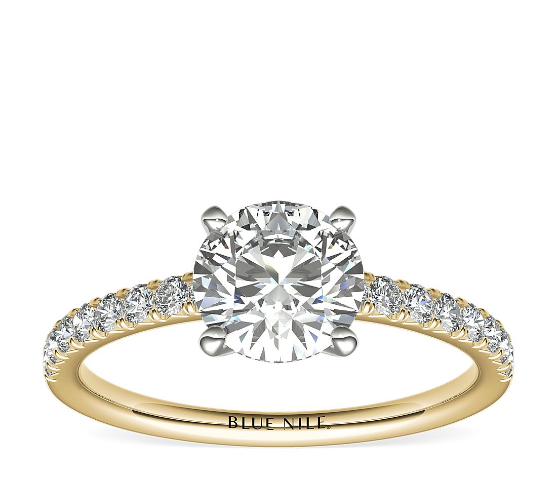 1.21ct.RD in *Delicate* French Pavé Diamond Engagement Ring in 14k Yellow Gold (1/4 ct. tw.)