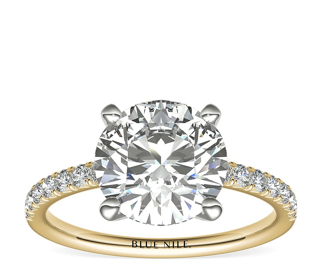 2.5ct.RD in *Delicate* French Pavé Diamond Engagement Ring in 14k Yellow Gold (1/4 ct. tw.)