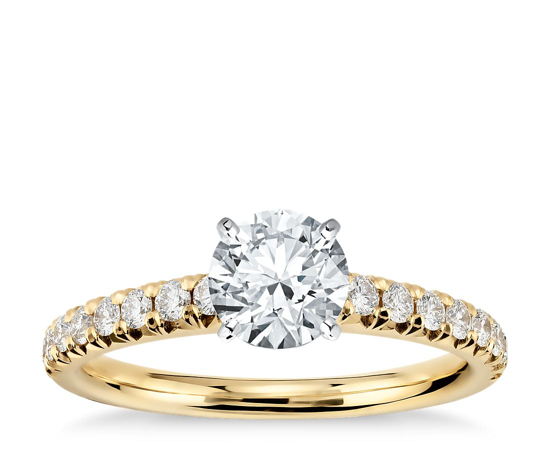 French Pav 233 Diamond Engagement Ring In 14k Yellow Gold 1