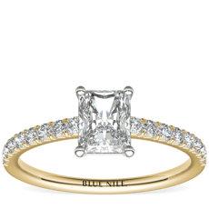 14k 金密钉钻石订婚戒指<br>(1/4 克拉总重量)