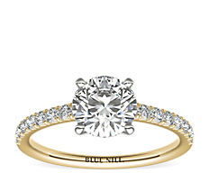 Bague de fiançailles en diamants sertis pavé français en or jaune 14carats (0,24carat, poids total)