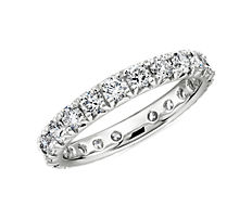 NEW French Pavé Diamond Eternity Band in Platinum- H/VS2 (1 1/2 ct. tw.)