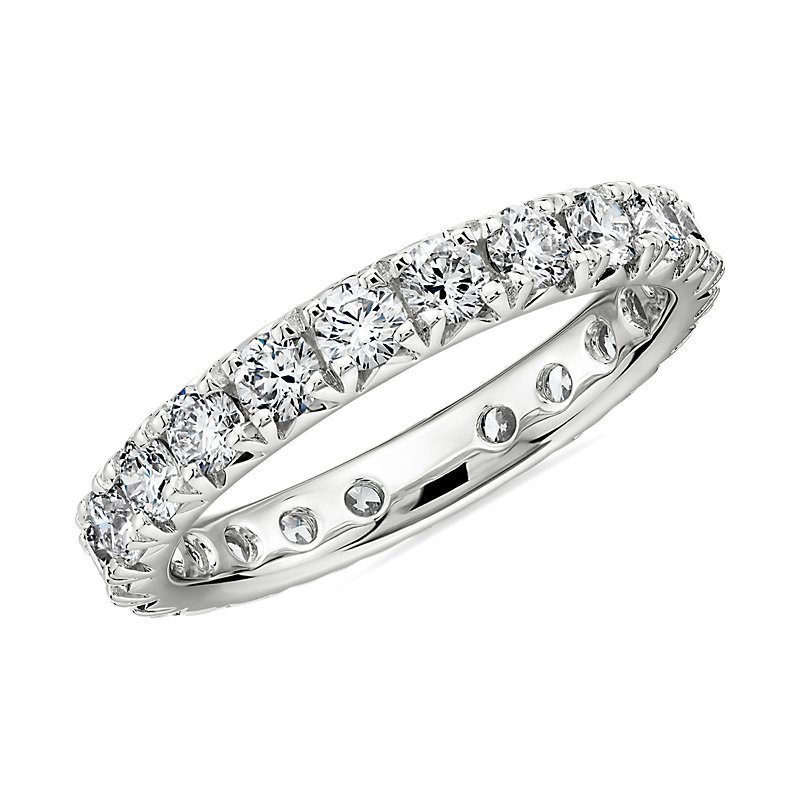 French Pavé Diamond Eternity Band in Platinum- H/VS2 (1 1/