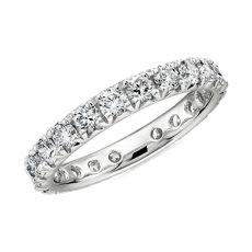 铂金法式密钉钻石永恒结婚戒指 - H/VS2 (1 1/2 克拉总重量)