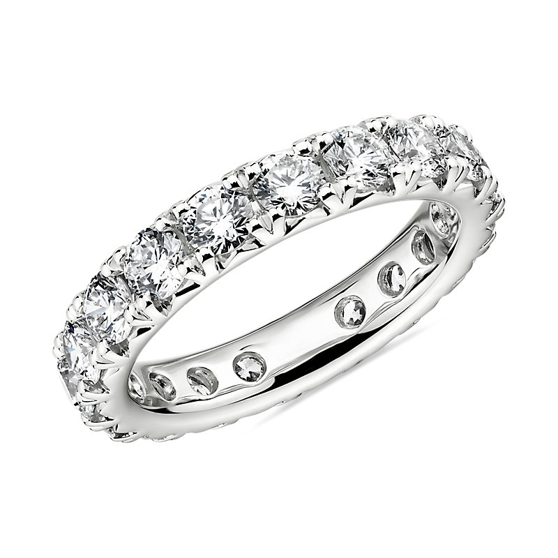 French Pavé Diamond Eternity Band in Platinum- H/VS2 (2 1/