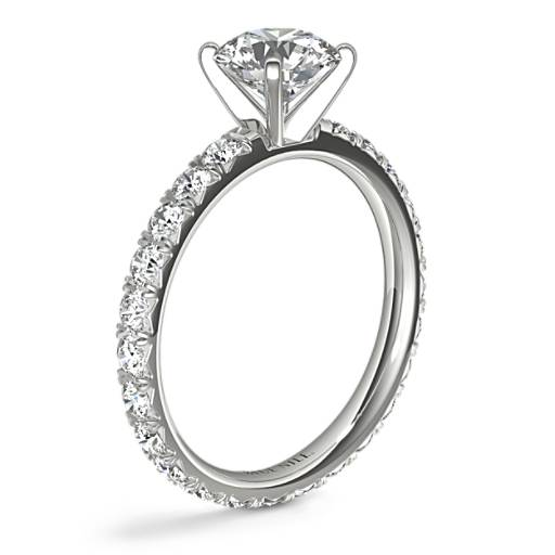 Blue Nile Studio French Pavé Diamond Eternity Engagement Ring