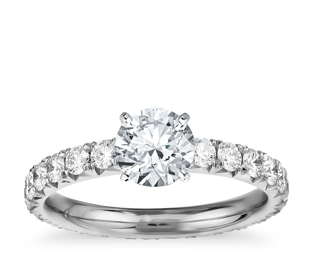 1 Carat Ready-to-Ship Blue Nile Studio French Pavé Diamond Eternity Engagement Ring in Platinum
