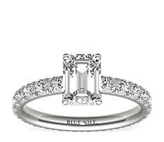 铂金 Blue Nile Studio 法国密钉钻石恒久订婚戒指<br>(1 克拉总重量)