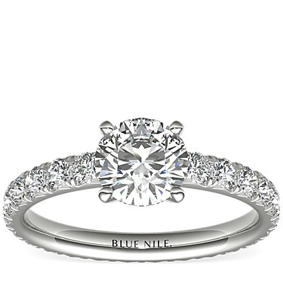 Blue Nile Studio French Pavé Diamond Eternity Engagement Ring in Platinum (1 ct. tw.)