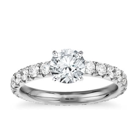 Blue Nile Studio French Pavé Diamond Eternity Engagement Ring in Platinum (1 ct. tw.)