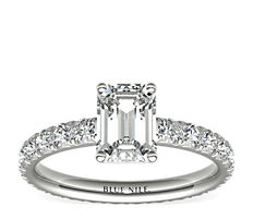 鉑金 Blue Nile Studio 法式密釘永恆鑽石訂婚戒指(1 克拉總重量)