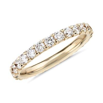 14k 黃金法式密釘鑽石永恆戒指(1 克拉總重量)