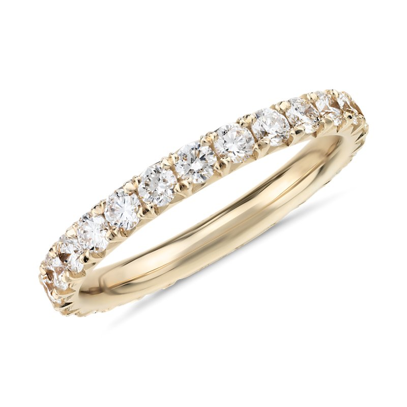 French Pavé Diamond Eternity Ring in 14k Yellow Gold (1 ct