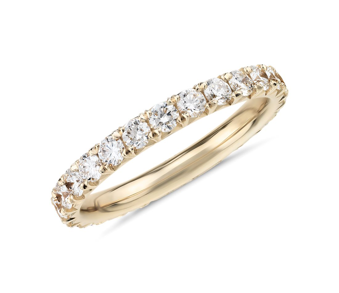 French Pav 233 Diamond Eternity Ring In 14k Yellow Gold 1 Ct