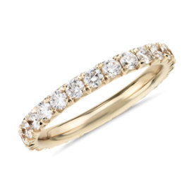 NEW French Pavé Diamond Eternity Ring in 14k Yellow Gold (1 ct. tw.)