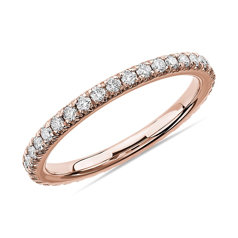 French Pavé Diamond Eternity Ring in 14k Rose Gold (1/2 ct