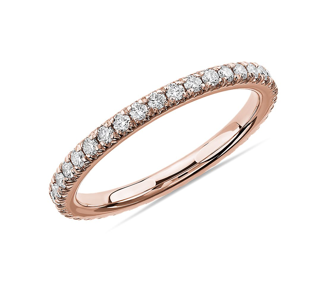 French Pavé Diamond Eternity Ring in 14k Rose Gold (1/2 ct. tw.)