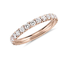 French Pavé Diamond Eternity Ring in 14k Rose Gold  (1 ct. tw.)