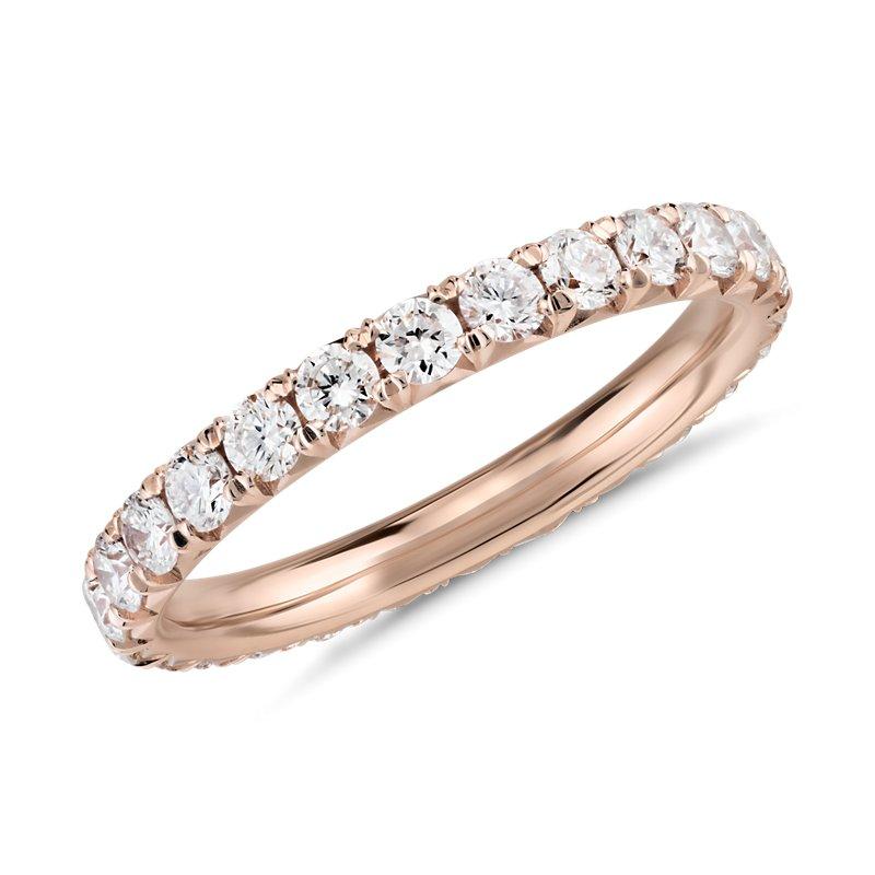 French Pavé Diamond Eternity Ring in 14k Rose Gold  (1 ct.