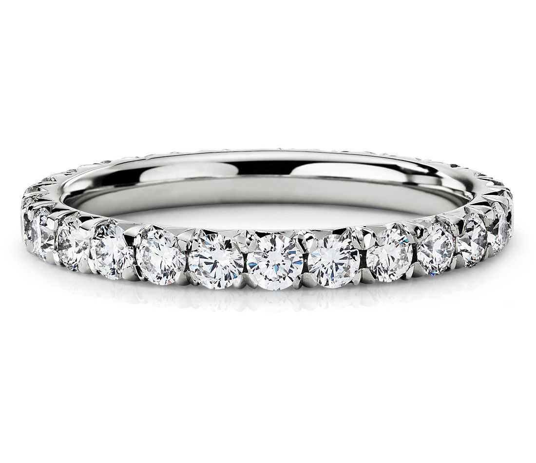 French Pave Diamond Eternity Ring In 14k White Gold 1 Ct Tw
