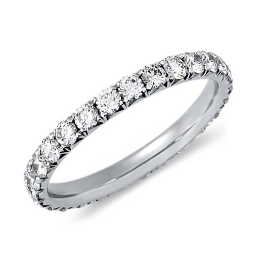 Bague d'éternité diamants sertis pavé français en or blanc 14carats (1carat, poids total)