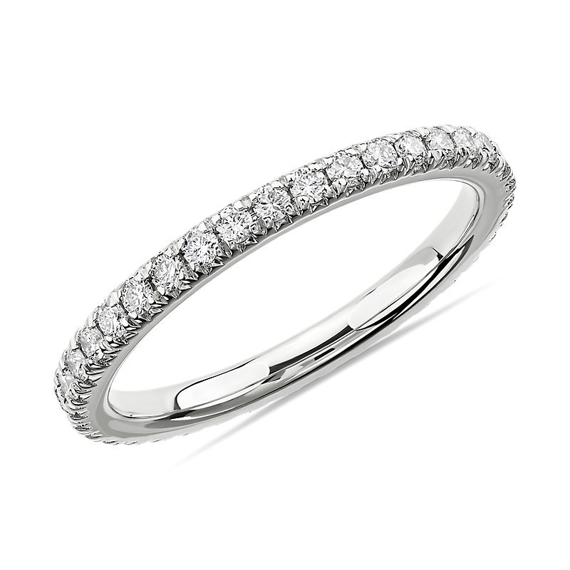 French Pavé Diamond Eternity Ring in 14k White Gold (1/2 c
