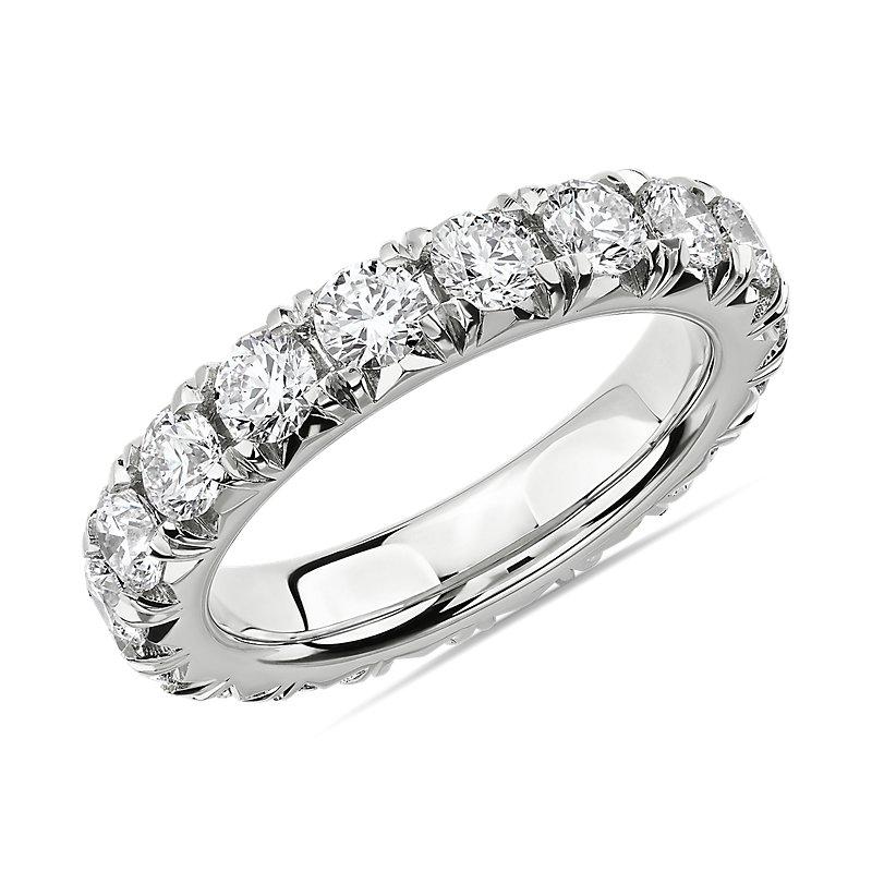 French Pavé Diamond Eternity Ring in 14k White Gold (3 ct.