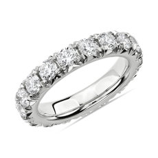French Pavé Diamond Eternity Ring in 14k White Gold (3 ct. tw.)