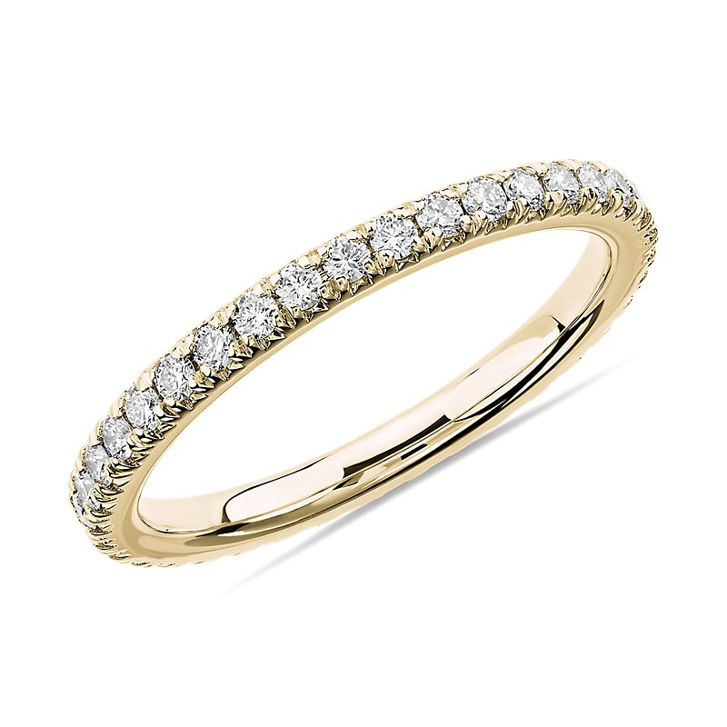 French Pavé Diamond Eternity Ring in 14k Yellow Gold (1/2