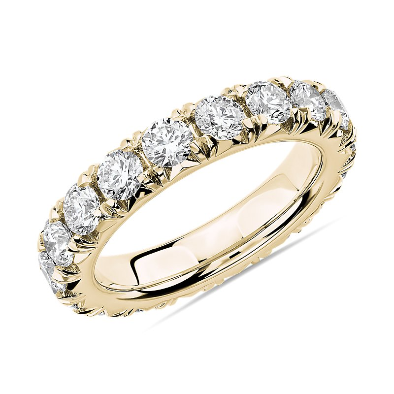 French Pavé Diamond Eternity Ring in 14k Yellow Gold (3 ct