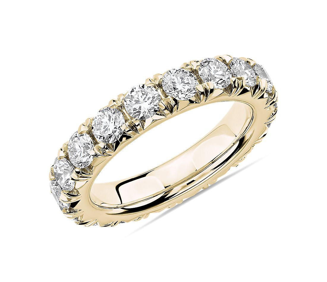 French Pavé Diamond Eternity Ring in 14k Yellow Gold (3 ct. tw.)