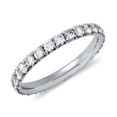 French Pavé Diamond Eternity Ring in Platinum (0.96 ct. tw.)