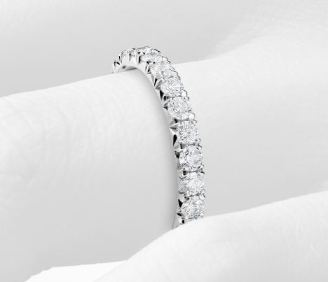 French Pavé Diamond Eternity Ring in Platinum