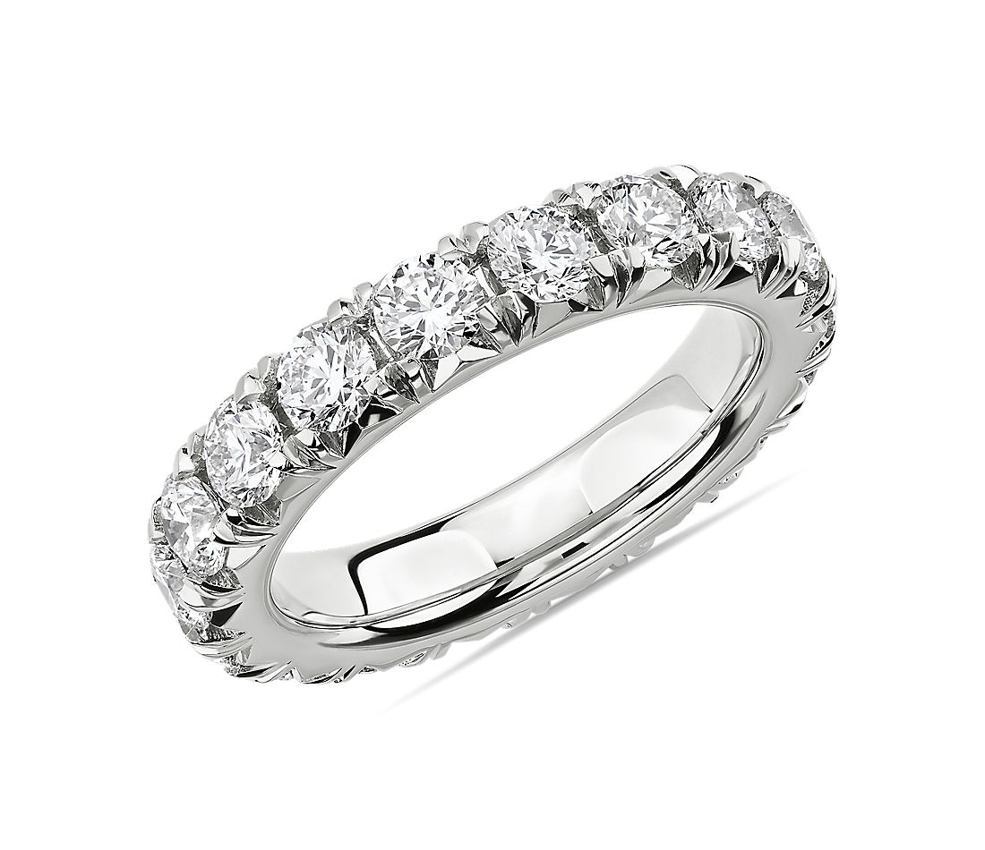 French Pavé Diamond Eternity Ring in Platinum (3 ct. tw.)