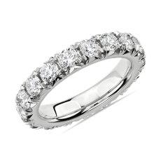 French Pavé Diamond Eternity Ring in Platinum (3 ct. tw.)