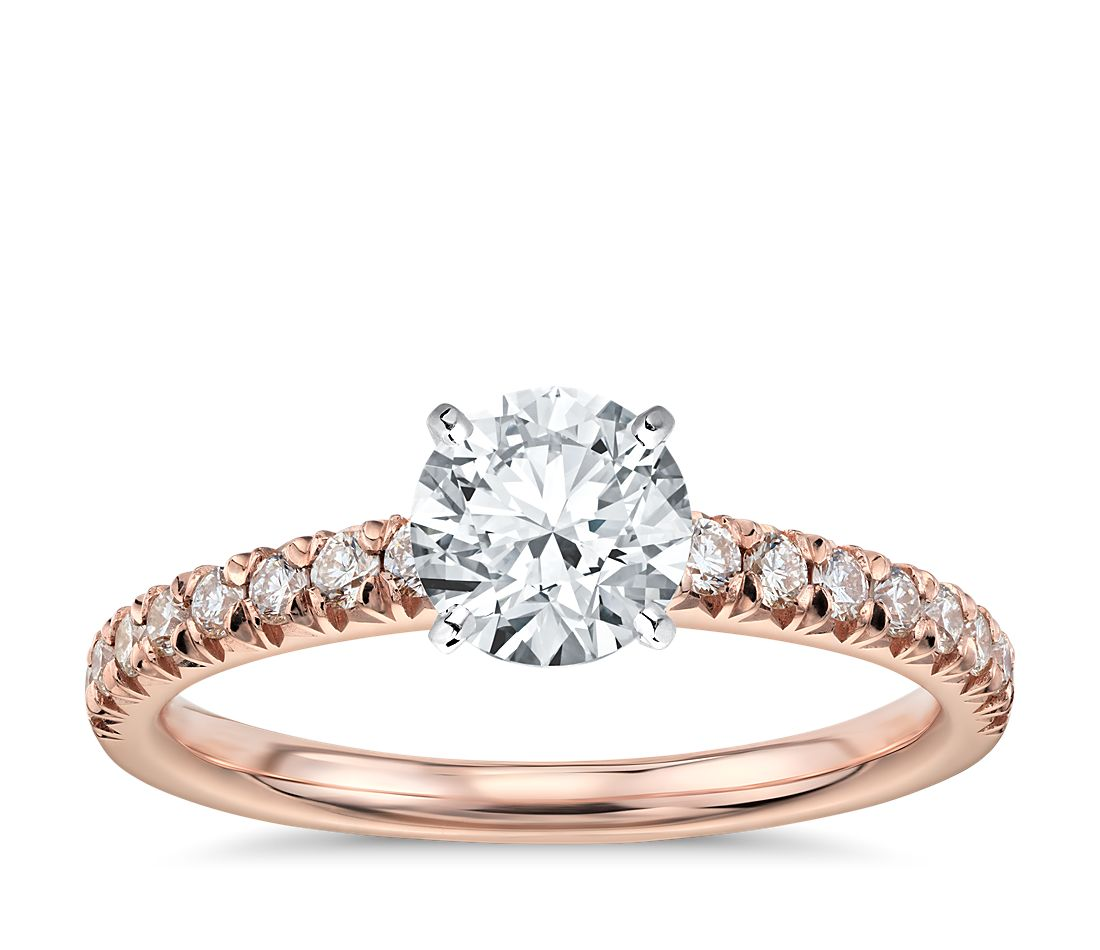 french pav diamond engagement ring in 14k rose gold 14 ct tw - Popular Wedding Rings