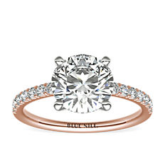 French Pavé Diamond Engagement Ring in 14k Rose Gold (0.24 ct. tw.)