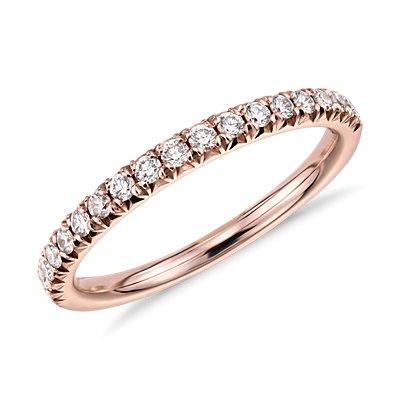 Anillo con pavé francés de diamantes en oro rosado de 14k (1/4 qt. total)