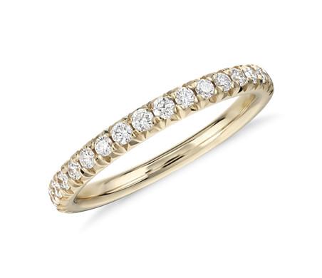 14k 黃金 法式密釘鑽石戒指<br>( 1/4 克拉總重量)