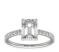 Bague de fiançailles en diamants sertis pavé français en or blanc 14carats